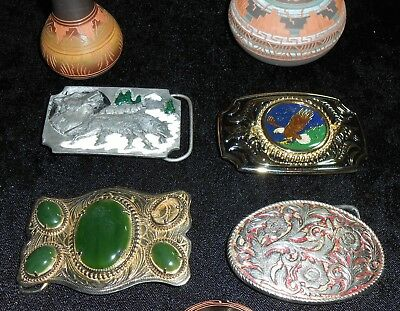 Lot 4 South Western Belt Buckles Wolves Eagles Filigree Green Cabochon Stone
