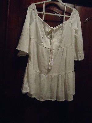 36e25b783d Gianni Bini White NWT Off The SHOulder Tiered Dress / Swim Cover Up L
