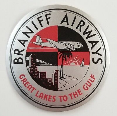 Vintage Braniff Airways Luggage Label Great Lakes to the Gulf
