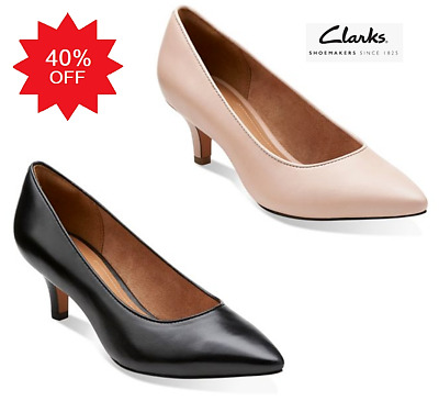 0e529d5842f5 Clarks Sage Copper court shoes kitten heel pointed toe wide E 5 or 6 ( 6