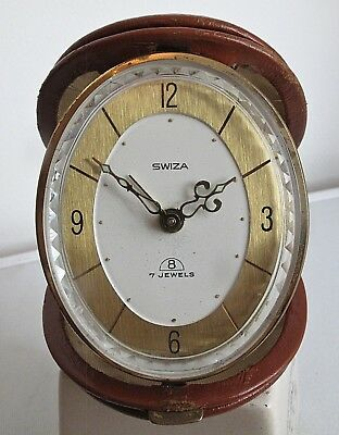 Swiza Swiss  travel alarm clock Clock working  8 day winding 80s leather case