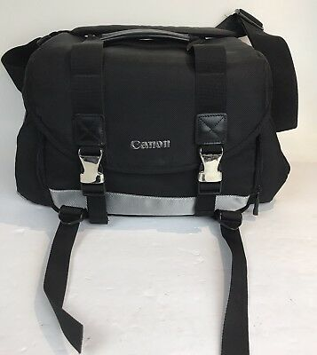 Black Canon 200DG Digital Camera Gadget Lens BAG Black strap Padded Dividers EUC