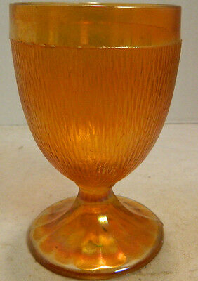 """Iridescent Marigold Carnival Glass Textured Goblet 6"""" x 3.5"""" Excellent Condition"""