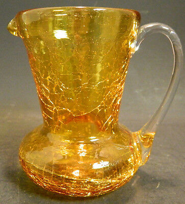 "Vintage Hand Blown Amber Glass Mini Pitcher Clear Handle 3.5"" x 2.5"" Excellent"