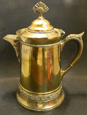 Antique Ornate Mermod, Jaccard & Co. Quadruple Plate Brass Finish Coffee Pot