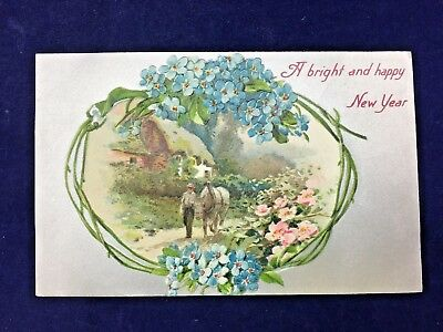 A Bright and Happy New Year silver Early 1900s  Antique Postcard (N9#84)