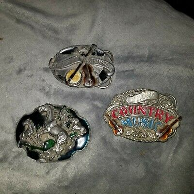 VINTAGE BELT BUCKLE LOT OF 3 SISKIYOU Country Music and Horses. 1984 1988 **NEW