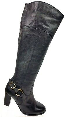 4ebbd57320b Diba True City Glaze Black Leather Tall Mid Zip Boots Faux Buckle Women s  ...