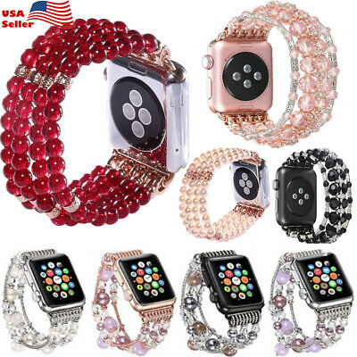 New Bling Agate Beads Bracelet Band Strap For Apple Watch 44-38mm iWatch 5/4/3/2