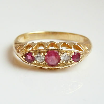 Fine Antique Edwardian 18ct Gold Ruby & Diamond Ring c1910; UK Size 'N 1/2'