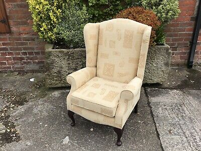 Absolutely Stunning Large Beige Fabric Fireside Wingback Chair....