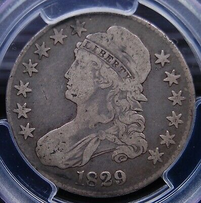 1829 Capped Bust Half Dollar Pcgs Fine 12 Nice And Natural Light Grey Circ