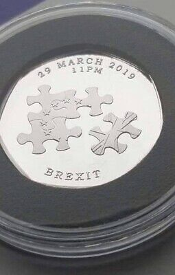 Brexit Original In Capsule 50p Shaped Coin Souvenir Coin Hunt Fifty Pence Bu
