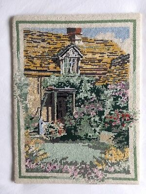 VINTAGE RETRO PENELOPE  TAPESTRY NEEDLEPOINT English Cottage Garden PICTURE
