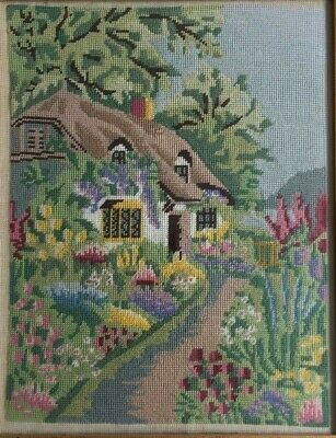 VINTAGE RETRO LOVELY TAPESTRY NEEDLEPOINT English Cottage Garden Kitsch  PICTURE