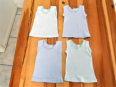 4 baby boy boys singlets size 0000 white pale blue pale green Cotton newborn