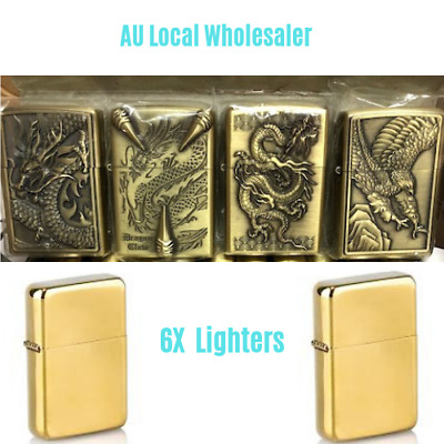 6X Flip Top Lighter Oil Kerosene Refillable Windproof Cigarette Metal Lighter