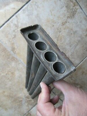 VERY RARE FLAT DESIGN Antique COLONIAL 4 Tube Tin Candle Mold, c1780, Hearthware
