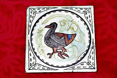 Antique English 'Hyslop' Ceramic Tile with Hand Painted Duck
