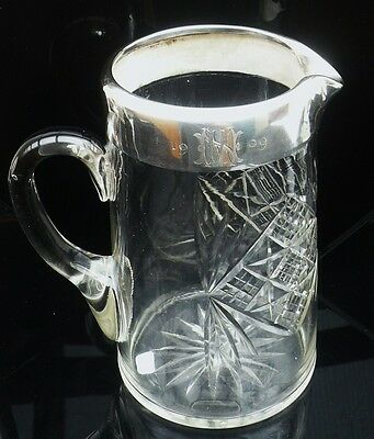 Silver Mounted Jug Pitcher, Birmingham 1908, J.H. Worrall, Son & Co.Ltd,