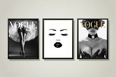 Set Of 3 Vogue Prints - Vogue Cover Fashion Art Prints A4 For Home Decor Gift