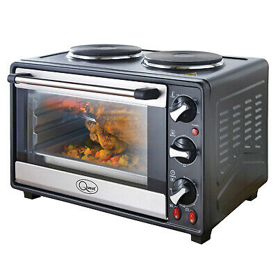 26 Litre Twin Hob Convection Oven With Grill Rotisserie Kitchen Cookware 2800W