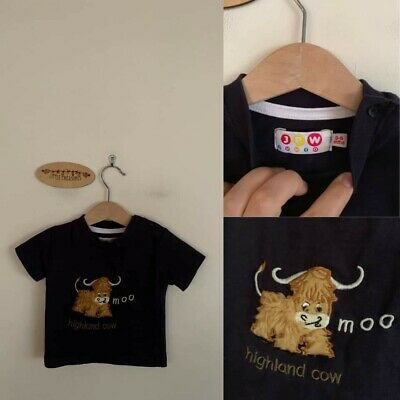 Sz 0-6m JPW Scotland Highland Cow fluffy textured tee