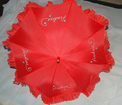 Vintage Red Embroidered White Andrea Blue Floral Parasol Umbrella Ruffle Edge
