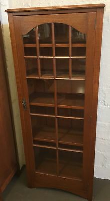 Antique Solid Silky Oak Display Cabinet / Bookcase