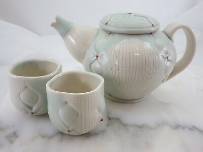 Art Pottery Ceramic Teapot with Two Cups - Signed American Artist Jess Palmer