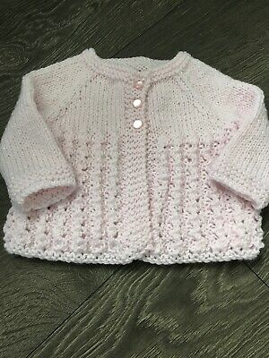 Beautiful Pink  Hand Knitted Baby Cardigan Fit 0-3 Month
