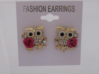 Gold Plated Crystal Wise Owl Stud Earrings for Pierced Ears - 20mm