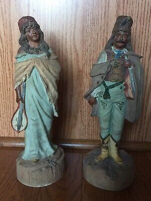 Pair of ANTIQUE 19th C. TERRA COTTA POLYCHROME PAINTED AUSTRIAN MUSICIAN FIGURES
