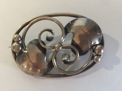 Antique Danish Or Mexican Modern Sterling Silver Oval Leaf Design Pin