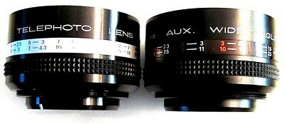 Hitem Telephoto & Wide Angle Auxiliary Lens set with case for SLR Film Camera