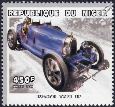BUGATTI Type 37 Race / Racing Car Stamp (1999 Niger)