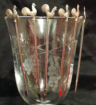 Unusual, Rare, Set Six 1932 English Solid Silver Cockerel Cocktail Sticks