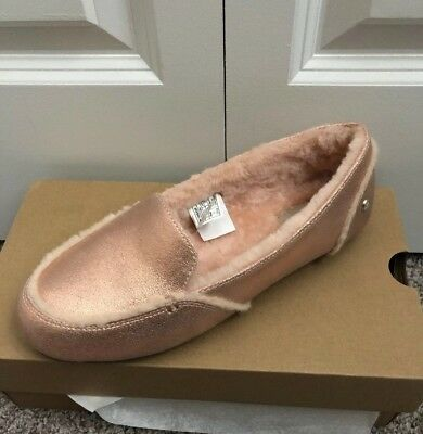 3636e852a9f New UGG Hailey Metallic Sheepskin Suede Loafers SLIPPERS Rose Gold SIZE 8