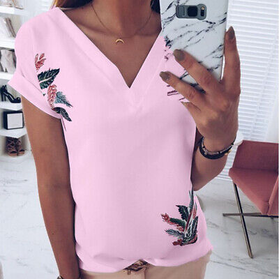 Women Ladies Printed V Neck Turn Up Short Sleeve Loose Baggy Fit T Shirt Top 8C