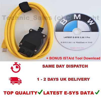 BMW OBD ENET Interface Cable Latest E-SYS ISTA ICOM Coding F Series 10 Years