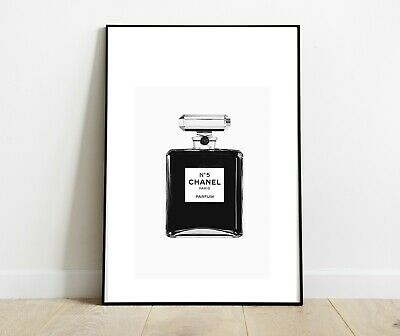 Chanel Perfume Bottle Art Print Silver Black For Home Decor Dressing Room A4