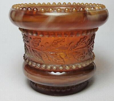 Antique Vintage Toothpick Holder-Summit/National Glass-HOLLY AMBER-GOLDEN AGATE