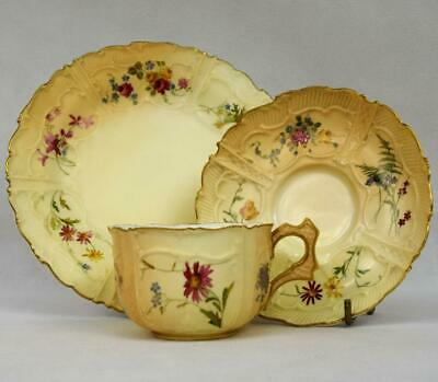 Antique Royal Worcester Trio~Cabinet Cup & Saucer~Blush Ivory~1898~Pattern #5171