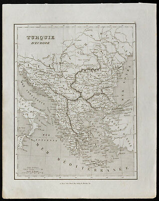 Antique Old Map of 1836c: Turkey - European Cup Final Full Set ( Monin )