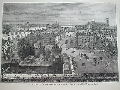 Antique Print C1875 Westminster From Roof Of Whitehall Engraving London History