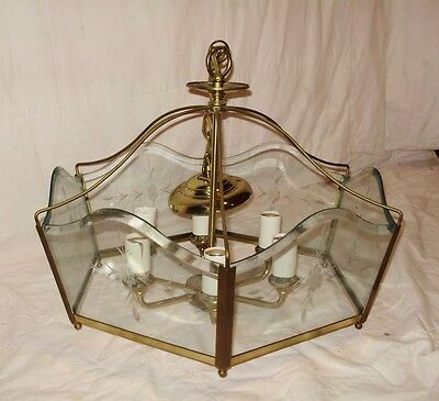 Vintage Brass Light Fixture with Glass (needs re wiring))