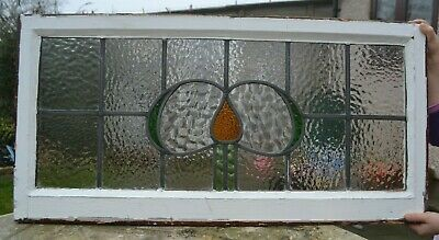 Frame 812 x 405mm. Leaded light stained glass window above door size. R905