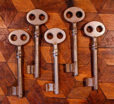 5 LARGE Deco Antique Double Hole Vintage French Chateau Cell Door Skeleton Key H