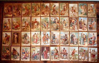40 Antique Victorian French Chromolithograph Trade Card Advertising 'Firsts' LOT
