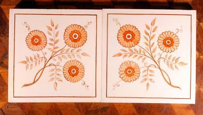 RARE ANTIQUE Pair (2) Hand Painted Orange Floral Minton Hollins Victorian Tile B